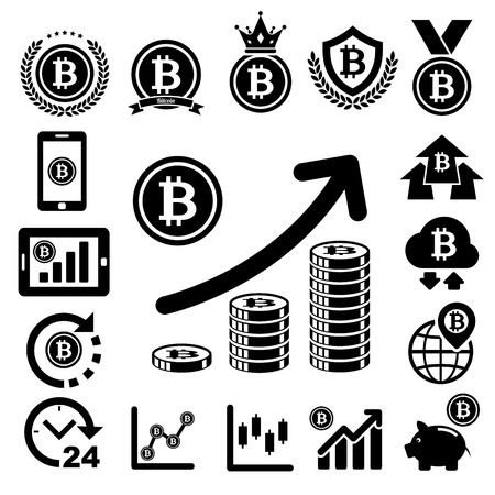 debt collection: Bit coin icons set.