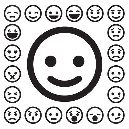 cara triste: Caras sonrientes iconos conjunto. Vectores