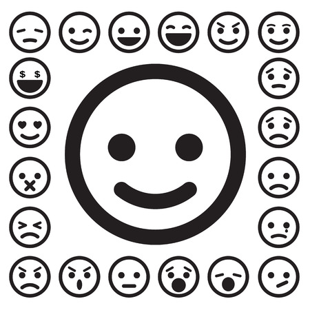 Smiley faces icons set. Ilustrace