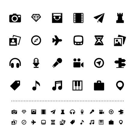 dimond: Retina travel and entertainment icon set . Illustration