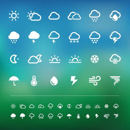 meteo: Icona del tempo Retina set.