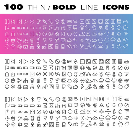 Thin Line Icons set.Illustration eps10 Vector