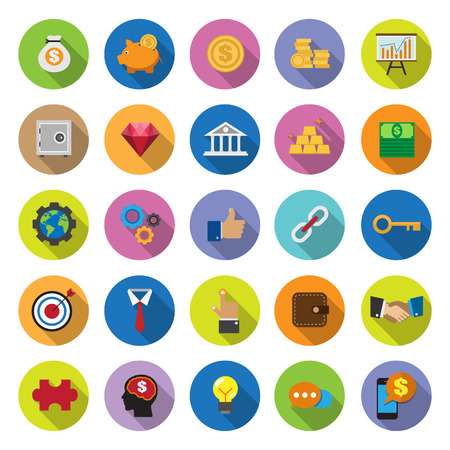 mundo manos: Colecci�n de los iconos planos con una larga sombra. Set 1, Econom�a y Negocios. Elementos de esta imagen proporcionada por la NASA Vectores