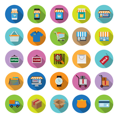 flat icons collection with long shadow . Set 4 . Shopping Illustration