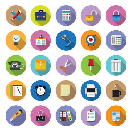 creative tools: flat icons collection with long shadow . Set 7 . Office Tools