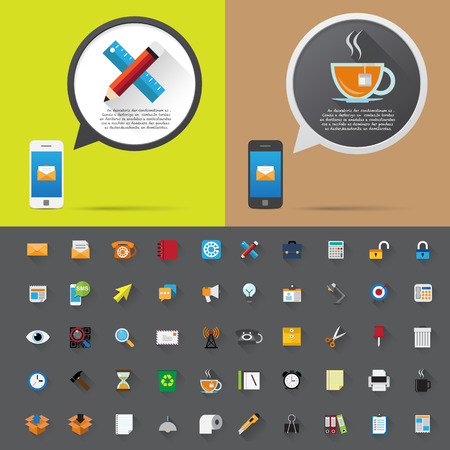 Smartphone alert and  flat icons collection . Set 2, Office Tools . Vector