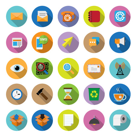speaker box: flat icons collection with long shadow . Set 2. Office tools Illustration