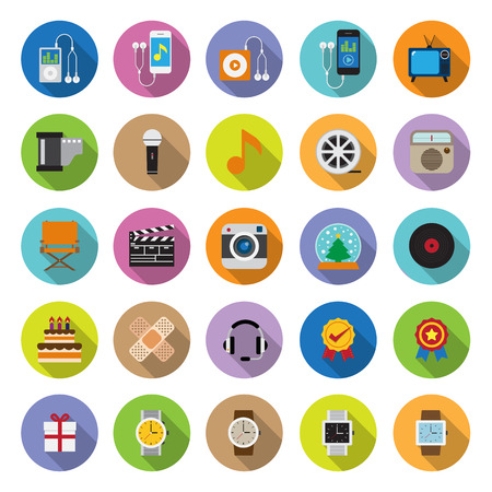 flat icons collection with long shadow . Set 3 . Gadget & Entertainment