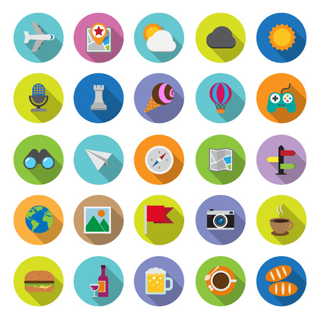 flat icons collection with long shadow . Set 5. Travel & entertainment. Elements of this image furnished by NASA Vector