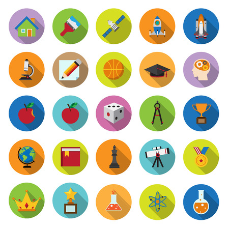 flat icons collection with long shadow . Set 8 . Science and education . Elements of this image furnished by NASA