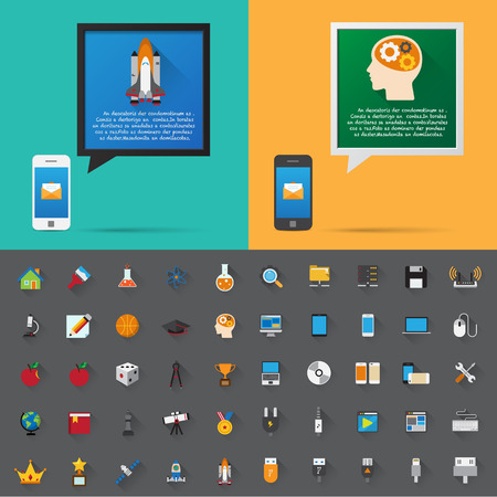 Smartphone alert and  flat icons collection . Set 4, Science & Education .Elements of this image furnished by NASA Vector