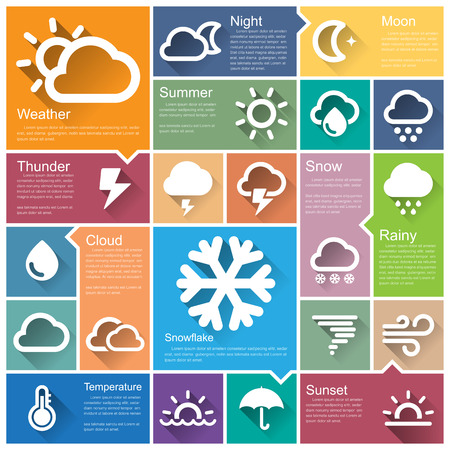 cloudy weather: Flat design interface icon set