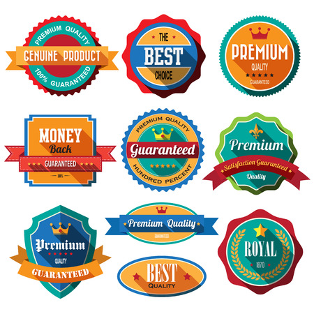 Set of retro vintage badges and labels. Flat design with long shadow Stock Vector - 27910715