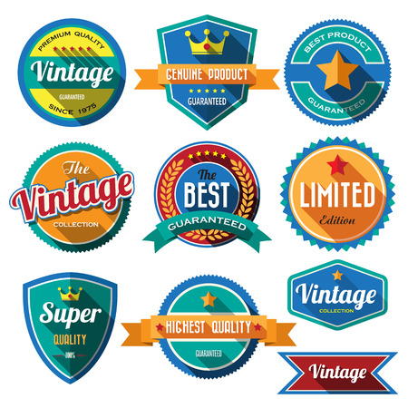 Set of retro vintage badges and labels. Flat design with long shadow