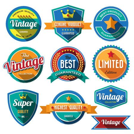 Set van retro vintage badges en labels. Platte design met lange schaduw Stock Illustratie