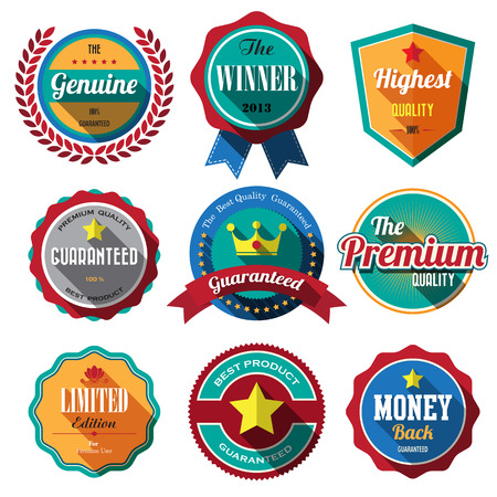 Set of retro vintage badges and labels. Flat design with long shadow  Vector