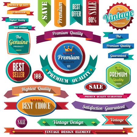 Set of retro vintage badges and labels. Flat design with long shadow . Vector