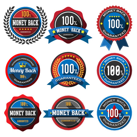 100% MONEY BACK,retro vintage badges and labels Vector