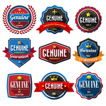 GENUINE,retro vintage badges and labels. Flat design with long shadow Vector