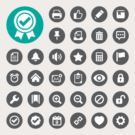 Computer and application interface  icon set.Illustration eps10