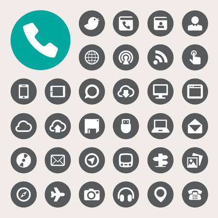 Communication and transportaion icon set .Illustration eps10 Vector