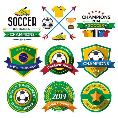 brasil: Soccer ( Football ) badge and labels.Illustration eps10 Illustration