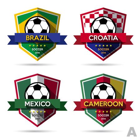 croatia flag: Set of soccer ( football ) badge.Vector Illustration