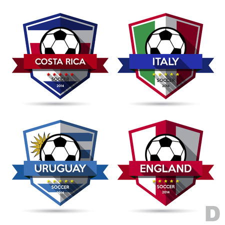 bandera de uruguay: Conjunto de fútbol (balompié) Ilustración badge.Vector
