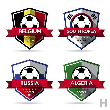 blue shield: Set of soccer ( football ) badge.Vector Illustration