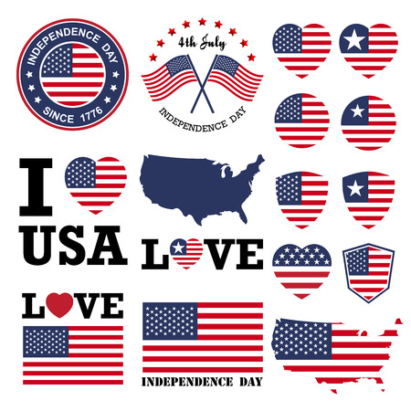 Independence day badge and label Illustration