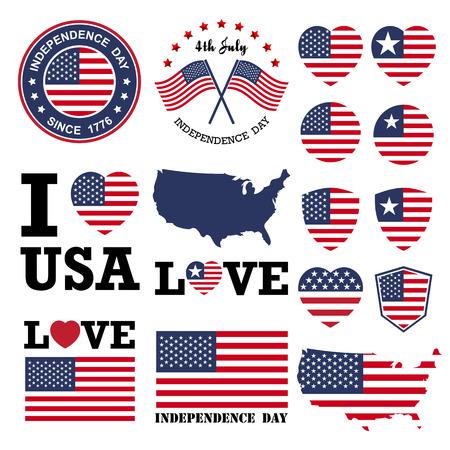 Insignia día de la Independencia y la etiqueta Ilustración