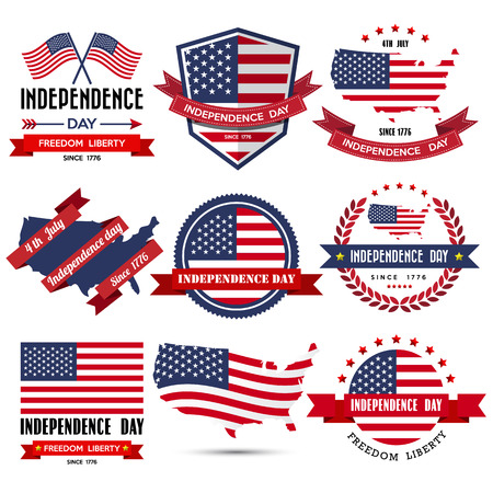 us state flag: Independence day badge and label.Vector Illustration
