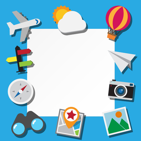 Paper note and travel icons set . Illustration eps10 Vector