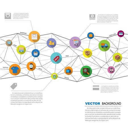 Abstract geometric  background set 2,Shopping icons set.Illustration eps10 Vector