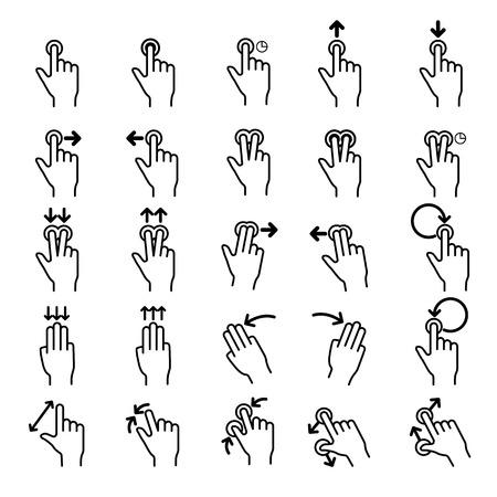 dedo: Toque ícones linha Gestos set.Illustrator EPS 10