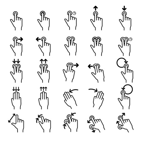 hand touch: Touch Gestures line icons set.Illustrator eps 10