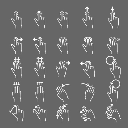 nudge: Touch Gestures line icons set.Illustrator eps 10