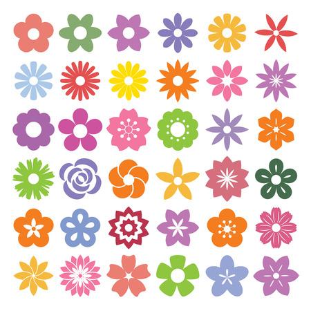 Set of Flower icons.Illustration eps10 Vector