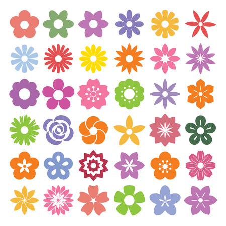 dahlia flower: Set of Flower icons.Illustration eps10 Illustration