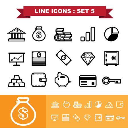 Line icons set 5 .     Vector