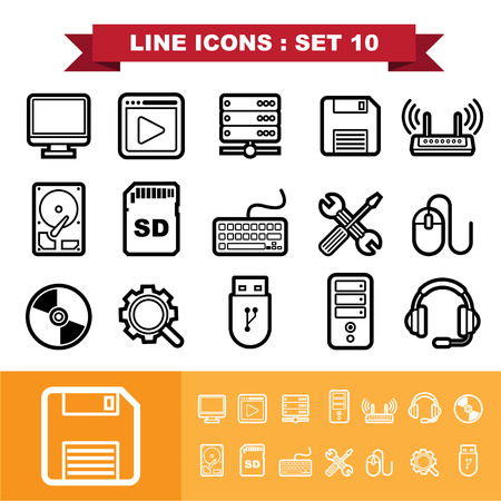 hdd: Line icons