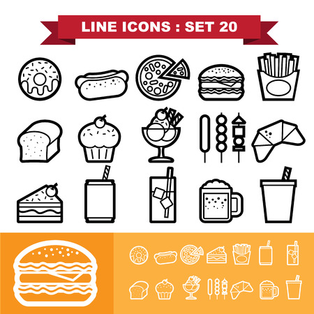 Line icons set 20 . Vector