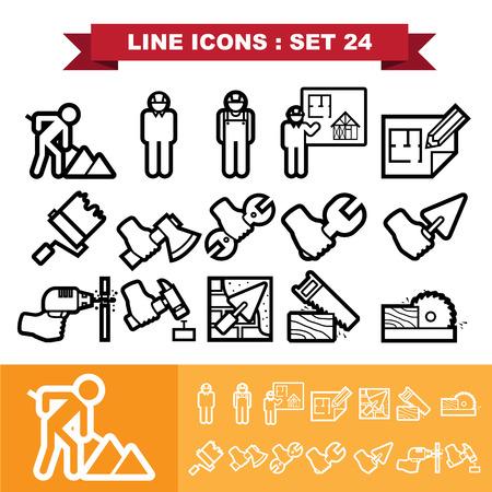 warning saw: Line icons set 24.