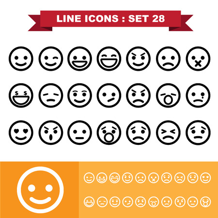 bored face: Line icons set 28.