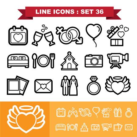 Wedding line icons set 36.Illustration eps 10 Vector
