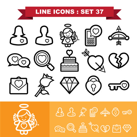 Love lne icons set 37.Illustration eps 10 Vector