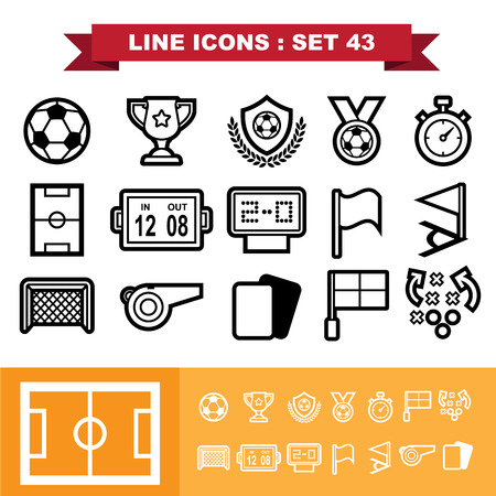goal cage: Soccer football  Line icons set