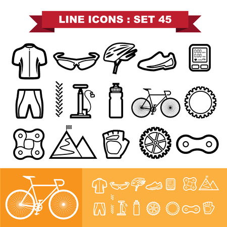 bike chain: Bicycle Line icons set Illustration