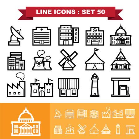 headquarter: Building and Landmark Line icons set 48 .Illustration eps 10