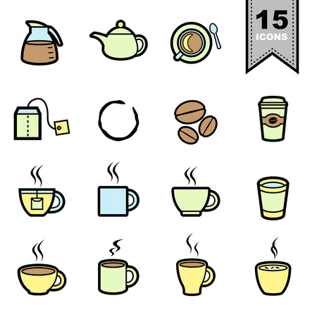 to go cup: Coffee icons set.